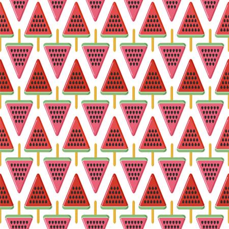 Seamless vector pattern with watermelon popsicles. Ilustração