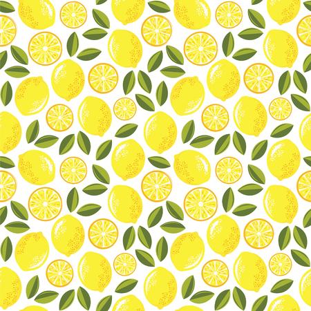 Juicy lemons. Seamless vector pattern with lemons and leaves. Ilustração
