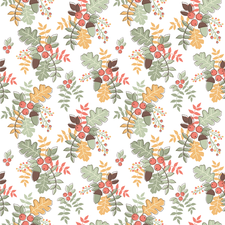Seamless vector pattern with autumn composition.