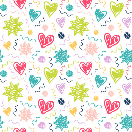 Seamless pattern with childish style drawing. Vector background with stars, hearts and dots.