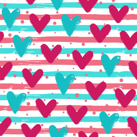 Hearts, dots and stripes. Seamless vector pattern.