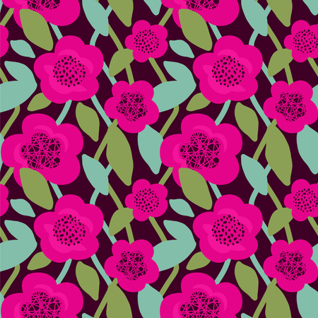 Seamless vector pattern with flowers.