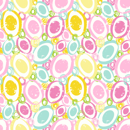 Abstract ovals in cute pastel colors. Seamless vector pattern with circles.