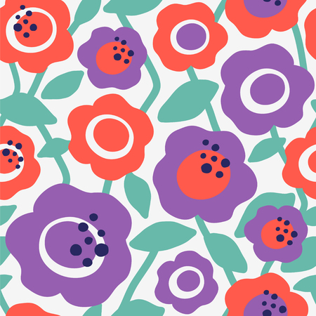 Seamless vector pattern with decorative flowers. Stylish floral background.