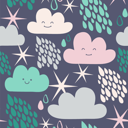 Rainy night. Seamless vector pattern with cute clouds and stars.