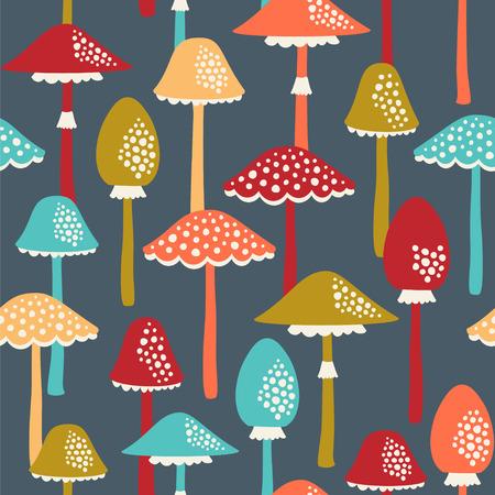 Seamless background pattern with amanitas. Vector illustration. Ilustração