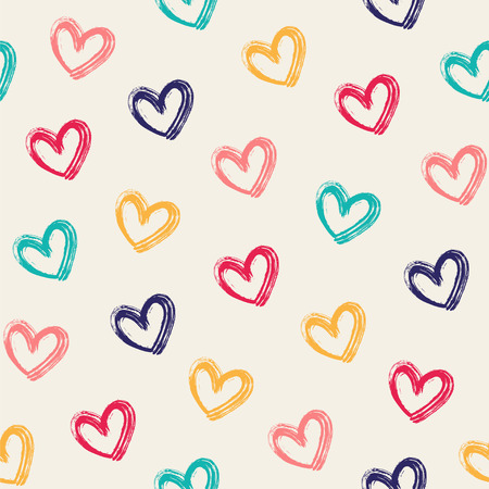 Seamless vector pattern with cute hand-drawn hearts.
