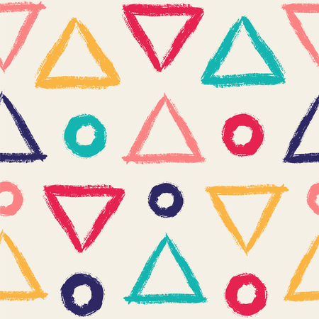 Simple seamless pattern with triangles and circles. Vector background with hand drawn geometric elements.