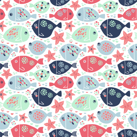 Sea stars and dots. Background with childlike characters.