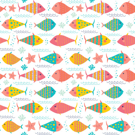 Cute fishes and sea stars. Seamless vector pattern.