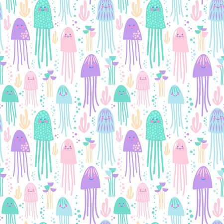 Seamless vector pattern with jellyfish in pastel colors.  イラスト・ベクター素材