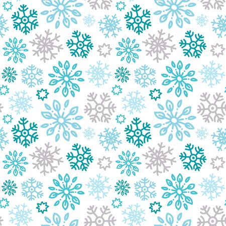Seamless vector pattern with doodle snowflakes.