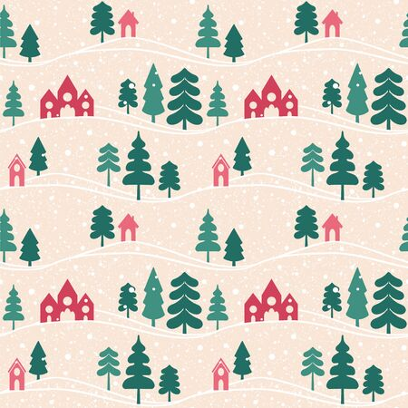 Seamless vector pattern with forest and houses.
