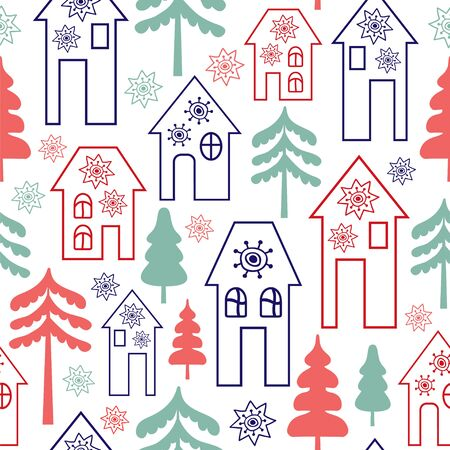 Seamless vector pattern with winter houses and trees.