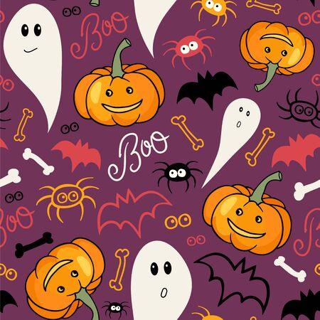 Halloween background. Jack-o-Lantern, ghost, bats and spiders. Ilustração