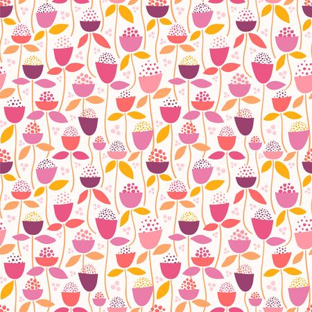 Seamless vector pattern with stylized flowers. Floral background. Illustration
