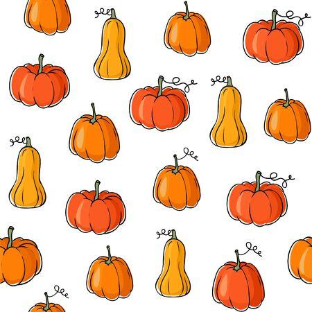 Seamless vector pattern with orange pumpkins.