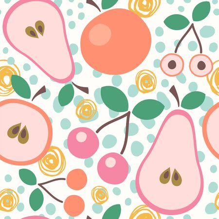 Seamless vector pattern with halves of pears, cherries and apples.