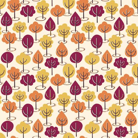 Seamless vector pattern with autumn trees.  イラスト・ベクター素材