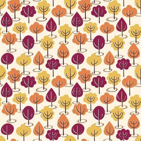 Seamless vector pattern with autumn trees. Illustration