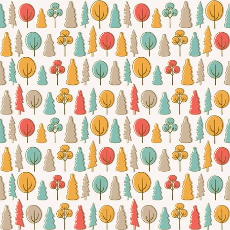 Seamless vector pattern with trees in the autumn park.