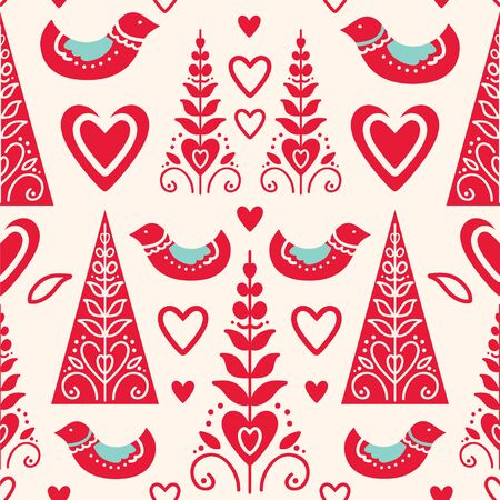 Seamless pattern with birds, hearts and stylized trees. Vector illustration in scandinavian style.