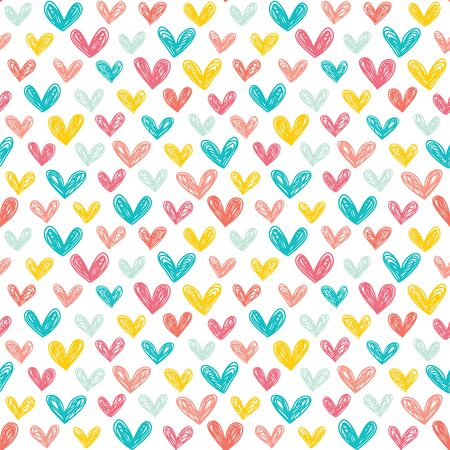 Seamless vector pattern with hand drawn hearts.