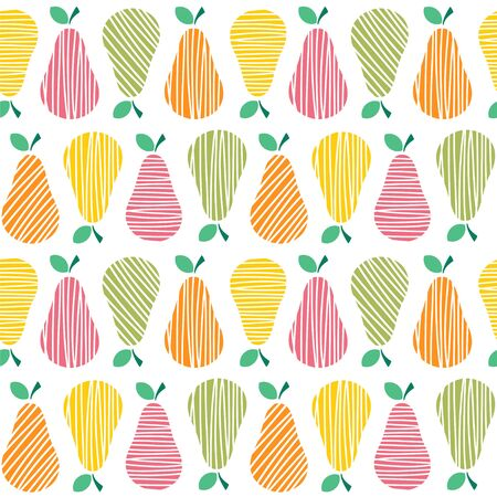 Seamless vector pattern with stylized bright pears.  イラスト・ベクター素材