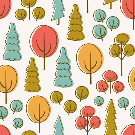 Seamless pattern with autumn forest or park. Vector illustration with trees.