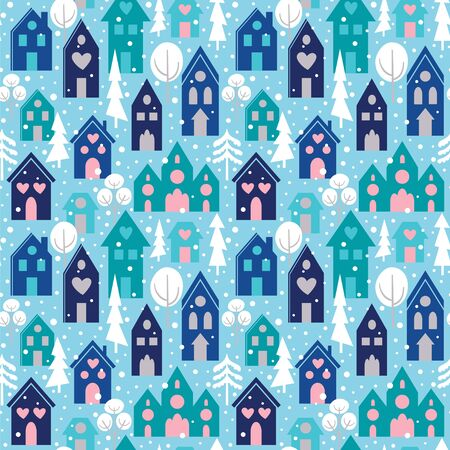 Seamless pattern with winter wonderland town. Vector illustration with houses and snow. Ilustração