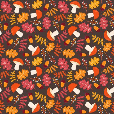 Mushrooms, leaves and acorns on the dark background. Autumn seamless vector pattern. Ilustração