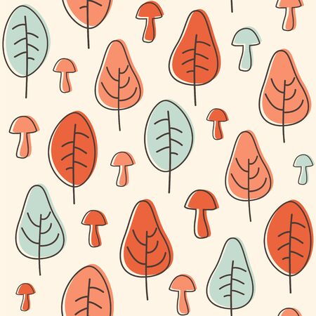 Simple seamless pattern with trees and mushrooms. Autumn vector background.