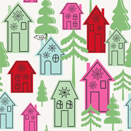 Seamless vector pattern with cute houses and trees.