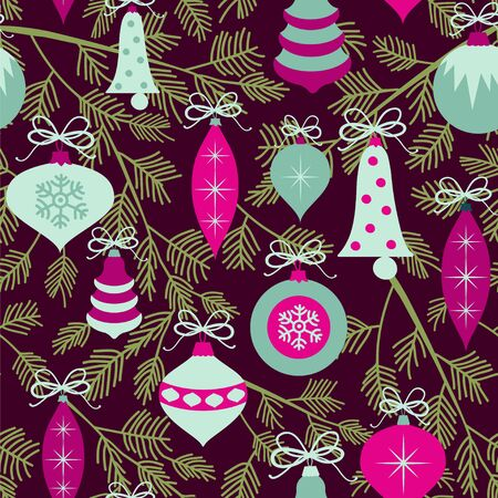 Seamless vector pattern with branches and baubles. Christmas background with ornaments.