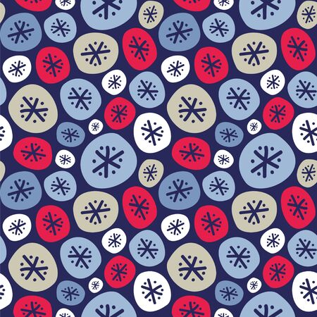 Seamless vector pattern with snowflakes on the dark background.