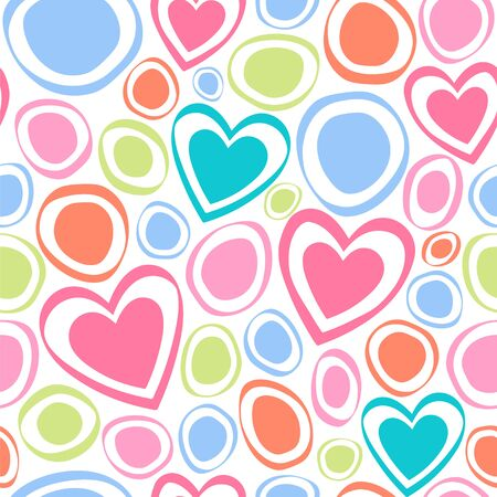 Seamless vector pattern with hearts and circles. Illustration