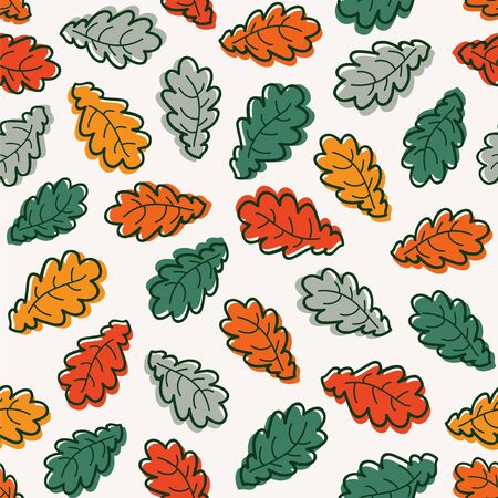 Autumn background. Seamless vector pattern with falling leaves.