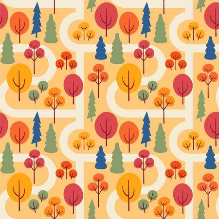 Autumn park with sidewalks. Seamless vector pattern with trees. Ilustração