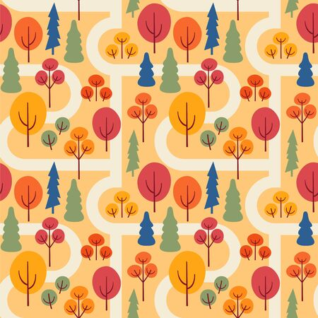 Autumn park with sidewalks. Seamless vector pattern with trees. Illustration