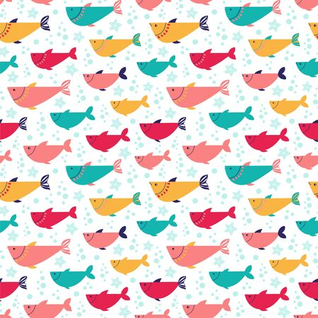 Seamless vector pattern with bright fishes.