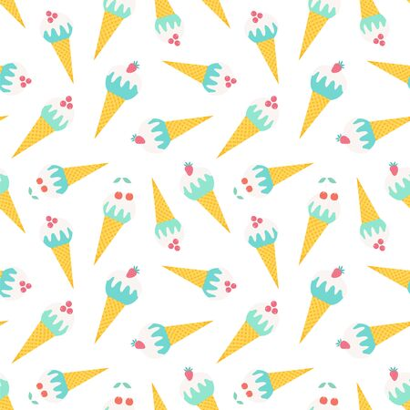 Seamless vector pattern with ice cream cones.