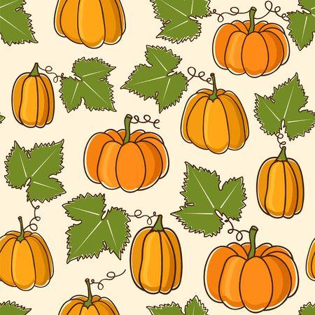 Lovely seamless vector pattern with pumpkins. Ilustração