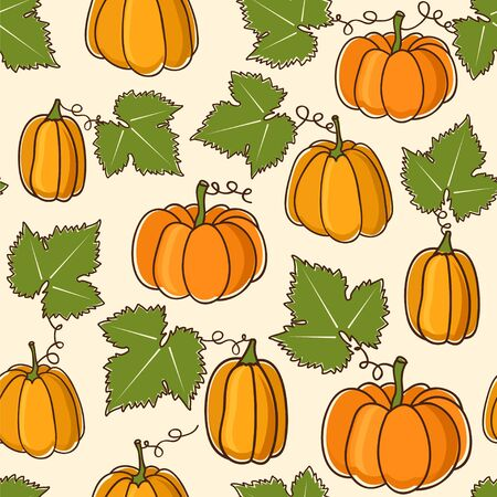 Lovely seamless vector pattern with pumpkins. Illustration