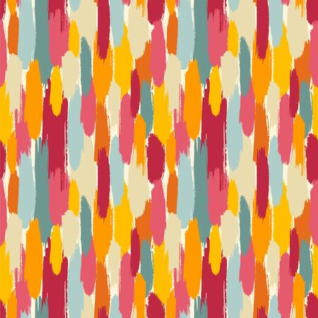 Seamless vector pattern with brush strokes in cute colors.  イラスト・ベクター素材