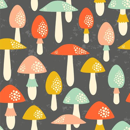 Cute mushrooms in retro colors on the dark background.