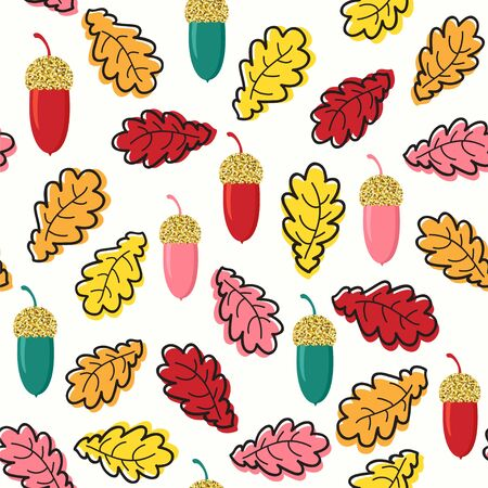 Seamless vector pattern in bright colors with golden acorns.