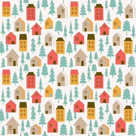 Seamless vector pattern with stylish houses and trees. Stock Illustratie