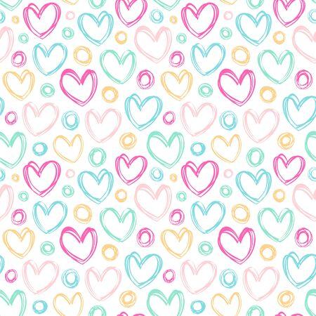 Seamless vector pattern with hearts and circles. Vektoros illusztráció