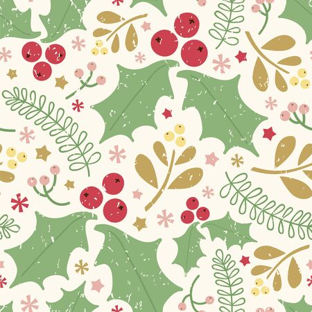 Seamless vector pattern with holly berries, mistletoe, leaves and berries.