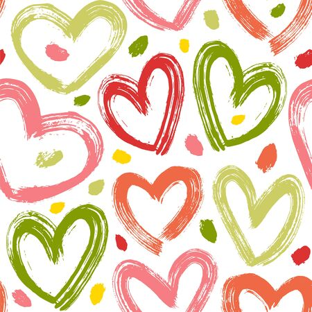 Bright seamless vector pattern with brush strokes hearts and spots.